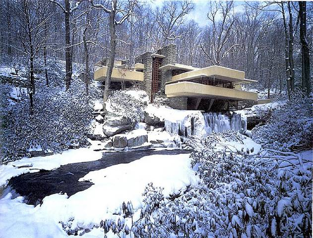The home was built partly over a waterfall fallingwater for House built on waterfall