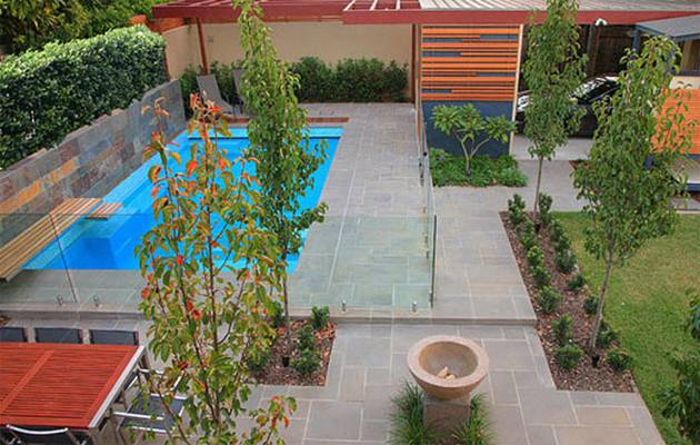 Fashionable pool landscaping for modern home update for Landscape design for pool areas