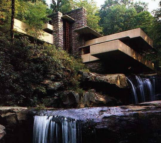 the home was built partly over a waterfall fallingwater. Black Bedroom Furniture Sets. Home Design Ideas