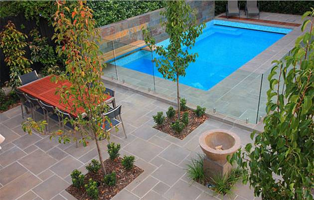 Fashionable pool landscaping for modern home update for Pool garden outlet